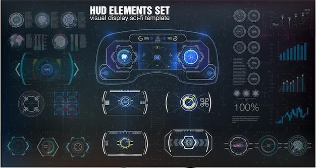 Duży Zestaw Elementów Hud, Grafika, Wyświetlacze, Instrumenty Analogowe I Cyfrowe, Wagi Radarowe. Premium Wektorów