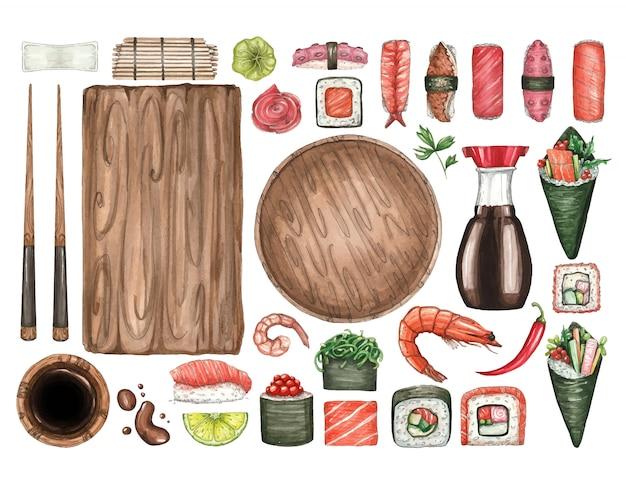 Duży Zestaw Ilustracji Akwarela Sushi Premium Wektorów