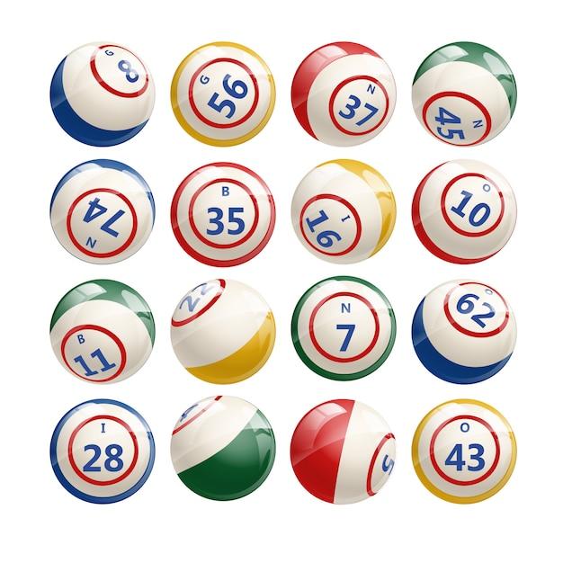 Duży Zestaw Loterii Bingo Balls Premium Wektorów