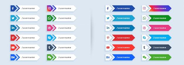 Duży Zestaw Mediów Społecznościowych Niższy Trzeci Darmowych Wektorów