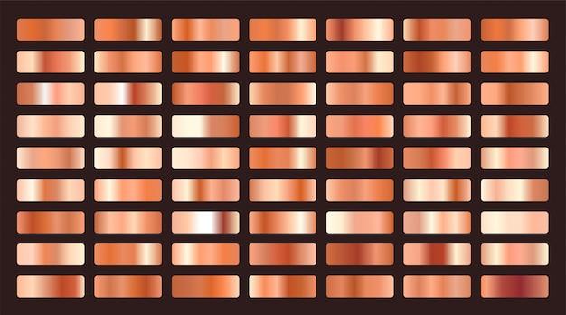Duży zestaw metalicznych gradientów w kolorze pomarańczowym lub miedzianym Darmowych Wektorów