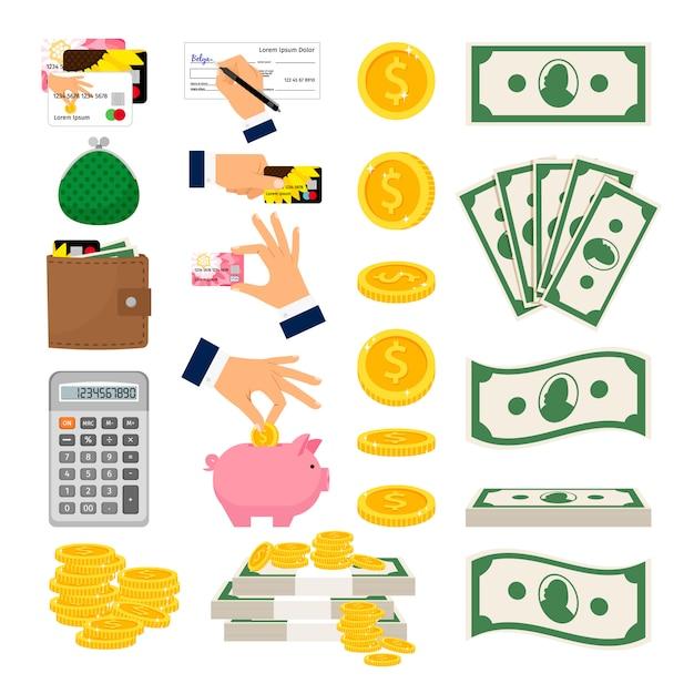 Duży zestaw pieniędzy pieniężnych i monet Premium Wektorów
