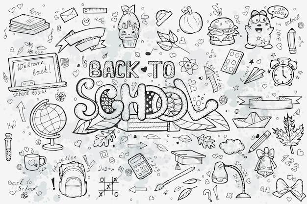 Duży Zestaw Ręcznie Rysowanych Doodli Z Powrotem Do Szkoły. Czarny Kontur Premium Wektorów