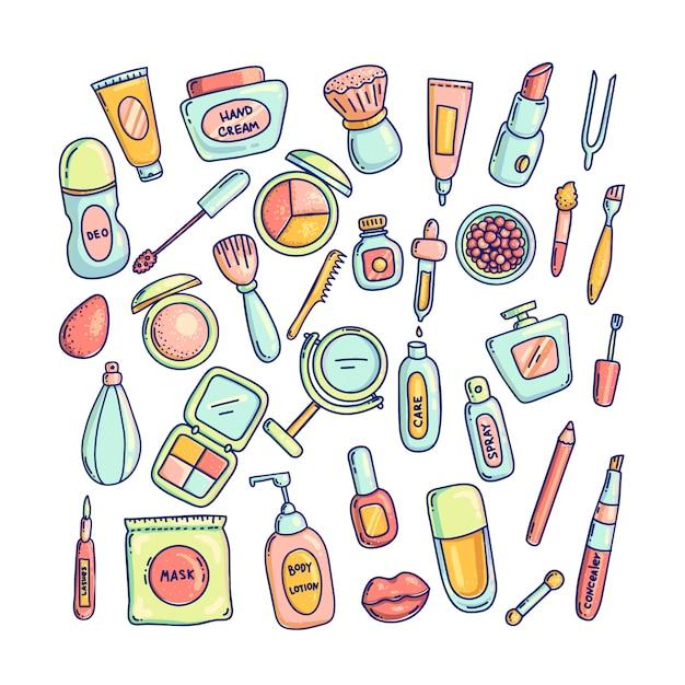 Duży Zestaw Różnych Opakowań Do Kosmetyków Dekoracyjnych Zestaw Ikon. Kolekcja Ilustracji Narzędzi Makijaż. Kolorowy Styl Doodle. Premium Wektorów