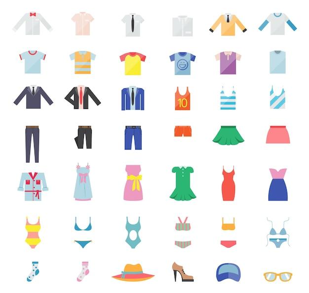 Duży Zestaw Ubrań Dla Kobiet I Mężczyzn. Ikony Mody. Ilustracji Wektorowych Darmowych Wektorów