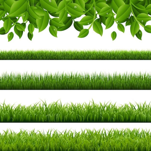 Duży Zestaw Zielona Trawa I Liście Graniczy Białe Tło Premium Wektorów