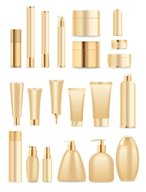 Duży Zestaw Złotych Pojemników Kosmetycznych Premium Wektorów