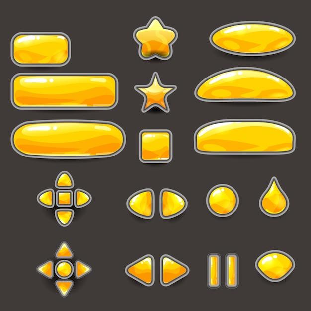 Duży Zestaw żółtych Złotych Przycisków Do Gier I Aplikacji O Innym Kształcie. Zestaw Interfejsu Do Swobodnej Gry. 2d Ikona Gry Premium Wektorów