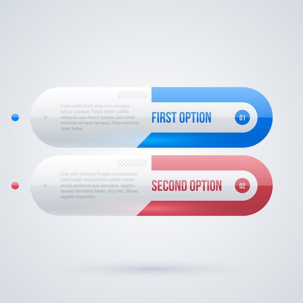 Dwa 3d Sztandary Internetowe W Czystym Glansowanym Stylu Na Białym Tle Premium Wektorów