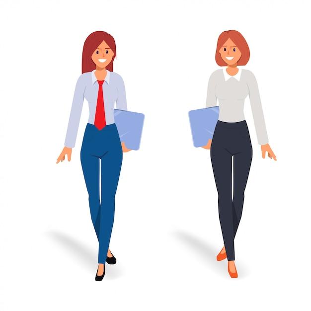 Dwa bizneswoman w pracie zespołowej Premium Wektorów