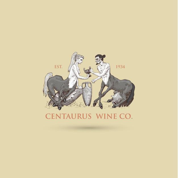 Dwa Centaury Dzielące Wino Logo, Ręcznie Rysowane Lub Grawerowane Stare Wyglądające Fantastyczne, Bajkowe Bestie Pół Człowieka Z Ciałem Konia, Mitologia Grecka Premium Wektorów