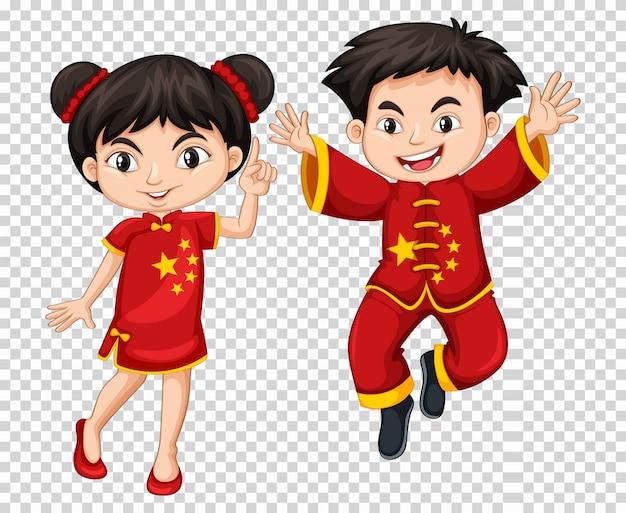 Dwa chińskie dzieci w czerwonym stroju Darmowych Wektorów