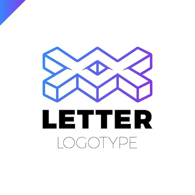Dwa Lub Podwójny Projekt Ikona Logo Isometric Letter X. Premium Wektorów