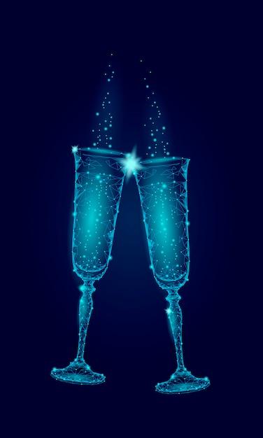 Dwa niebieskie świecące kieliszki szampana błyszczą, życzenia szczęśliwego nowego roku walentynki Premium Wektorów