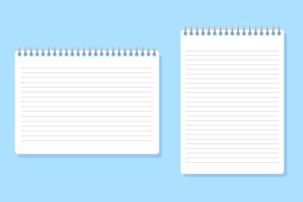Dwa notebooki o różnych rozmiarach umieszczone na niebiesko Premium Wektorów