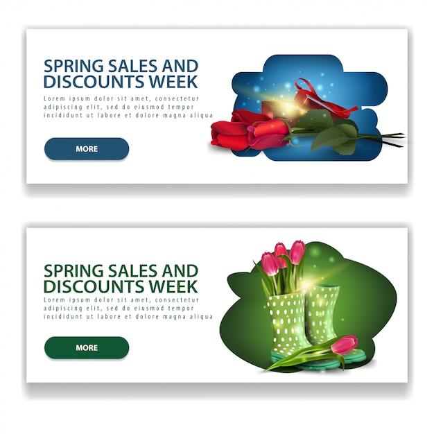 Dwa nowoczesne poziome białe banery sprzedaży wiosną Premium Wektorów