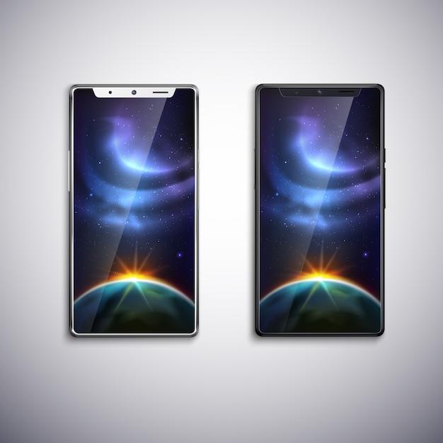 Dwa Nowoczesne Telefony Z Wszystkimi Ekranami Darmowych Wektorów