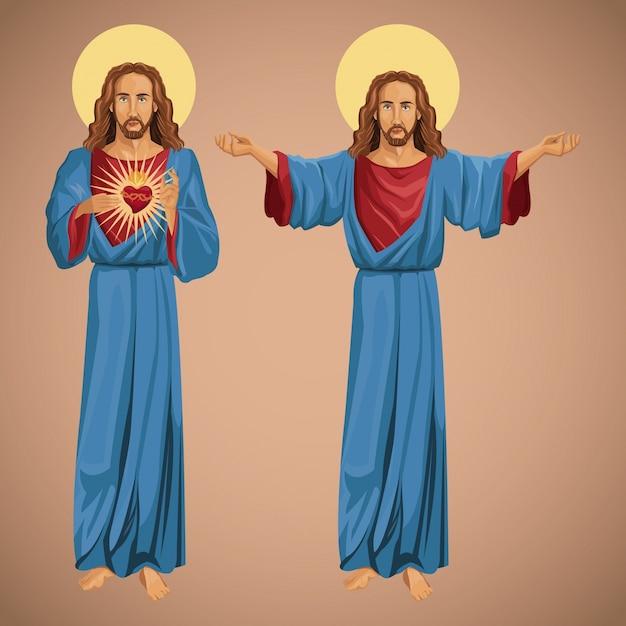 Dwa Obrazu Jezusa Chrystusa Najświętszego Serca Premium Wektorów