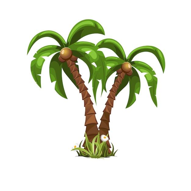 Dwa Piękne Palmy Premium Wektorów
