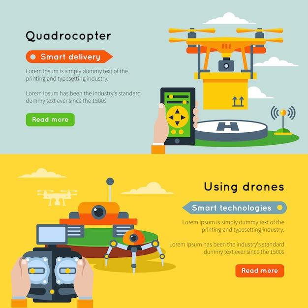 Dwa Poziome Banery Nowych Technologii Z Inteligentną Dostawą Dronów Przy Użyciu Inteligentnych Technologii I Przycisków Dronów Czytaj Więcej Darmowych Wektorów