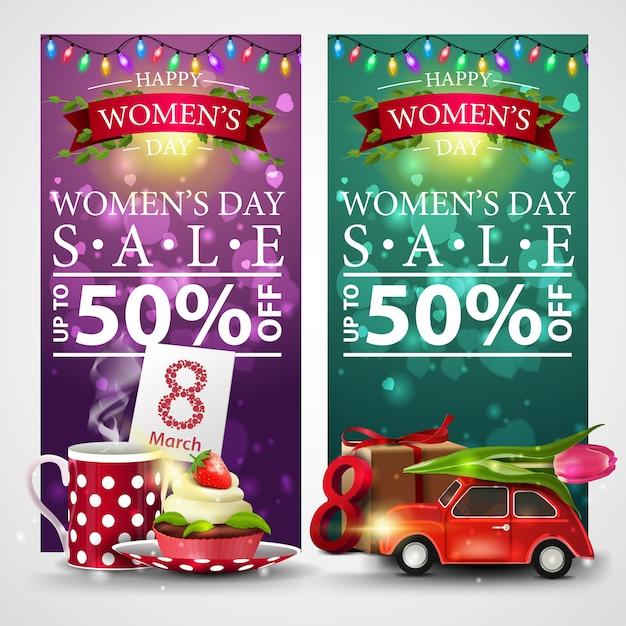 Dwa Rabatowe Banery Na Dzień Kobiet Z Girlandą Premium Wektorów