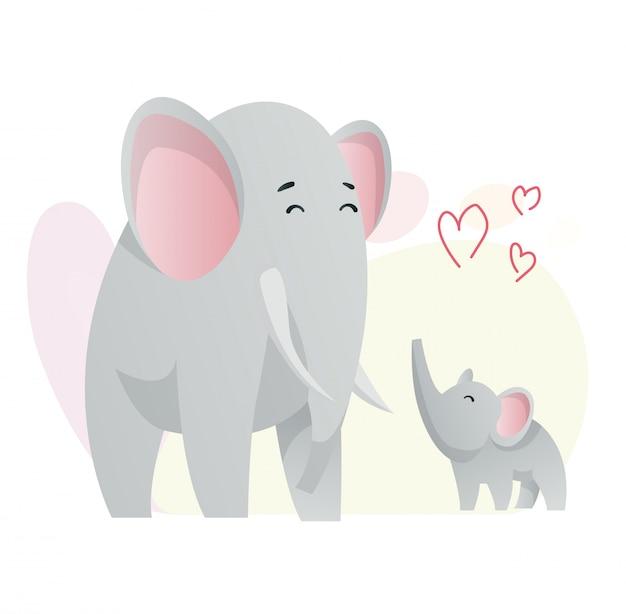Dwa Słonie Patrzą Na Siebie. Zwierzęta Mama I Dziecko. Bajki Słodkie Zwierzęta W Stylu Płaski. Drukuj Na Ubrania. Ilustracja Premium Wektorów