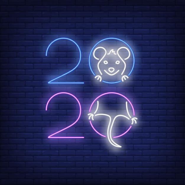 Dwa tysiące dwadzieścia znak neon z radosnym szczurem Darmowych Wektorów