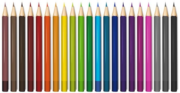 Dwadzieścia Jeden Odcieni Kolorów Ołówków Darmowych Wektorów