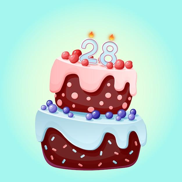 Dwadzieścia Osiem Lat Urodzinowy Uroczysty Tort świąteczny Ze świecą Numer 28 Premium Wektorów