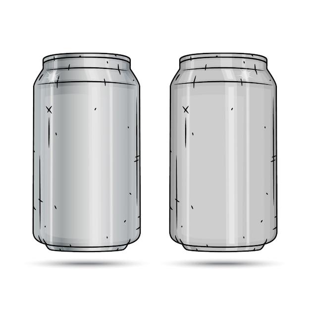 Dwie Aluminiowe Puszki Na Białym Tle Premium Wektorów
