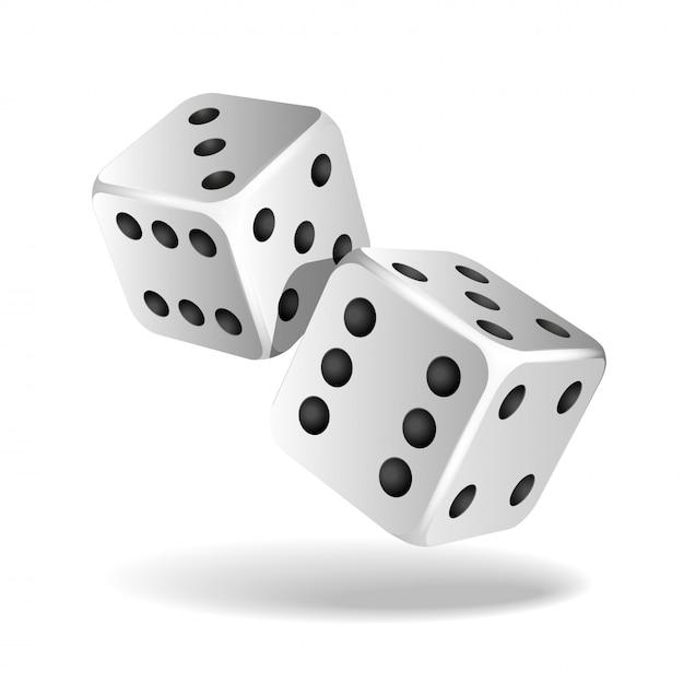 Dwie Białe Spadające Kostki Na Białym Tle. Kasyno Hazard Szablon Koncepcji. Premium Wektorów