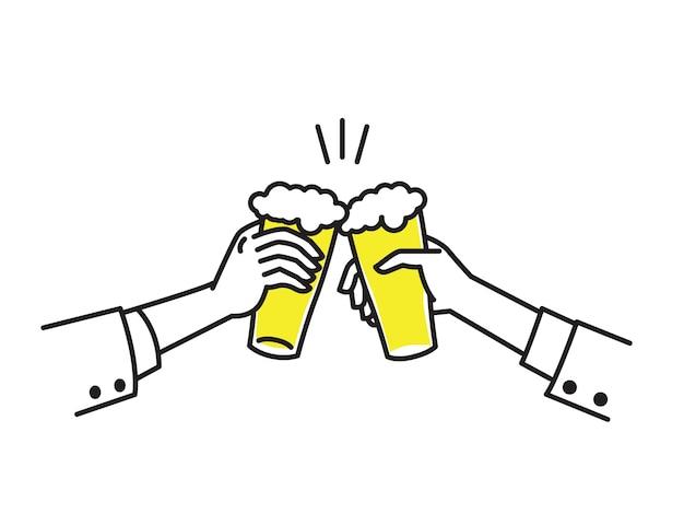 Dwie Biznesmen Ręka Trzyma Szklanki Piwa, Aby Uczcić Sukces. Premium Wektorów