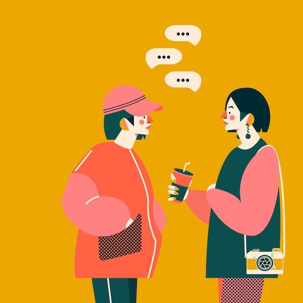 Dwie Dziewczyny Rozmawiają Razem Ilustracja. Modne Kolory Premium Wektorów