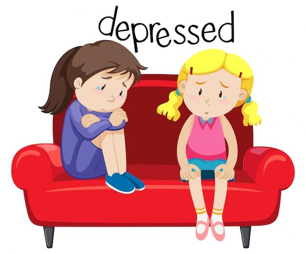 Dwie dziewczyny są przygnębiające Darmowych Wektorów