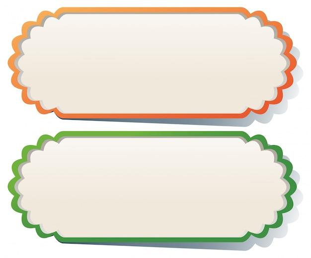 Dwie etykiety w kolorze pomarańczowym i zielonym Darmowych Wektorów