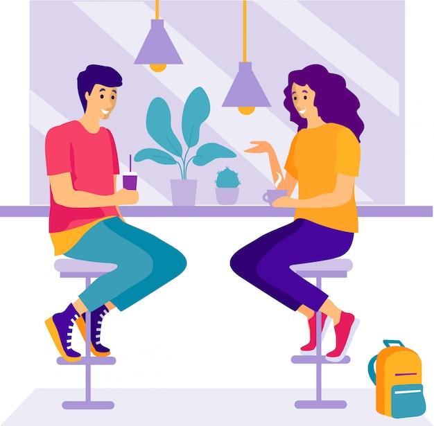 Dwie kobiety siedzą w kawiarni i rozmawiają. Premium Wektorów
