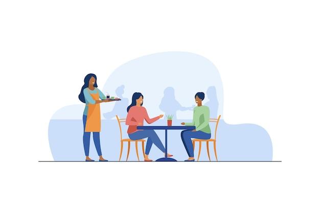 Dwie Kobiety Siedzą W Kawiarni. Darmowych Wektorów