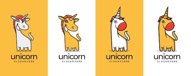 Dwie Koncepcje Projektu Dla Logo Unocorn Premium Wektorów