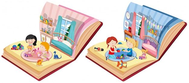 Dwie Książki Z Dziećmi W Scenie Sypialni Premium Wektorów