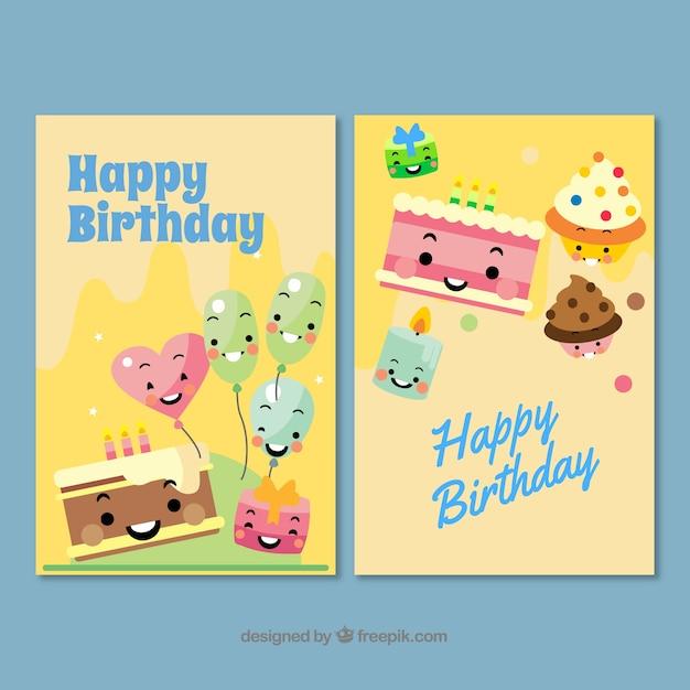 Młodzieńczy Dwie ładne kartki urodzinowe wyciągnąć rękę Wektor | Darmowe PZ02