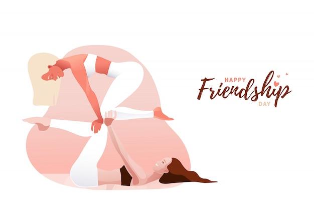 Dwie Młode Kobiety Uprawiające Jogę Acro W Parze. Koncepcja Równowagi, Wsparcia, Jedności, Kobiecej Przyjaźni Lub Siostrzeństwa. Szczęśliwego Dnia Przyjaźni. Premium Wektorów