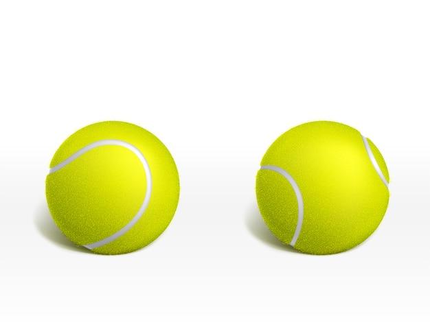 Dwie nowe piłki tenisowe leżące na białej powierzchni Darmowych Wektorów