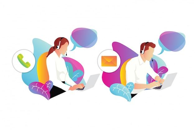 Dwie Obsługi Klienta Pracujące W Jednej Firmie Marketingowej. Premium Wektorów