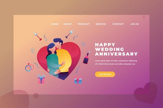 Dwie Pary świętują Rocznicę ślubu Miłość I Związek Strona Internetowa Nagłówek Landing Page Szablon Ilustracji Premium Wektorów