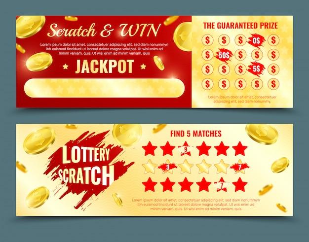 Dwie Różne Wersje Wzorcowej Makiety Loterii Zdrapkowej Z Wygraną Jackpota I Gwarantowaną Promocją Nagród Darmowych Wektorów