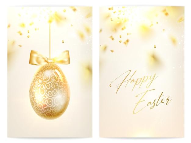 Dwie Strony Szczęśliwych Kart Okolicznościowych Wielkanocnych. Darmowych Wektorów