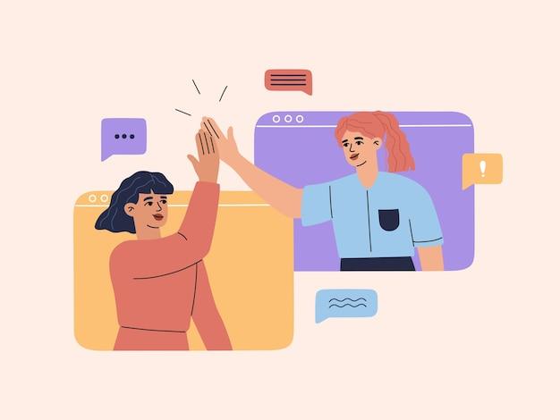 Dwie Uśmiechnięte Młode Dziewczyny Mają Wideokonferencję Online Na Ekranie Komputera, Rozmawiają Z Przyjaciółmi Lub Kolegami, Szczęśliwa Kobieta Daje Piątkę I Rozmawia, Ilustracja W Płaskiej Kreskówce Premium Wektorów