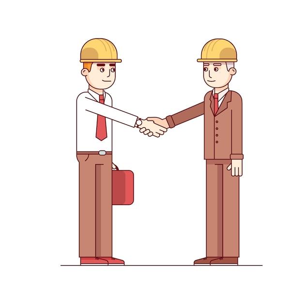 Dwóch Architektów Lub Inżynierów Budowlanych Uścisk Dłoni Darmowych Wektorów