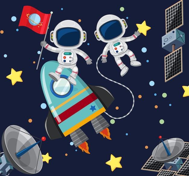Dwóch Astronautów Latających W Przestrzeni Kosmicznej Premium Wektorów