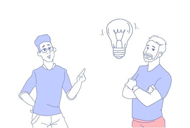 Dwóch biznesmenów burzy mózgów lampa światło nowy pomysł Premium Wektorów